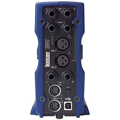 LEXICON Lambda studio interface äänikortti pöytämalli  2 x mikrofoniliitäntä, XLR, 48V Phanton- 2 x insert-liitäntä, 6,3 plugi - 2 x linjatason liitäntä, 6,3 plugi - 2 x line out, 6,3 plugi- instrumenttiliitäntä etupanelissa - kuulokeulostulo etupanelissa - MIDI in/out - monitorointimiksaus