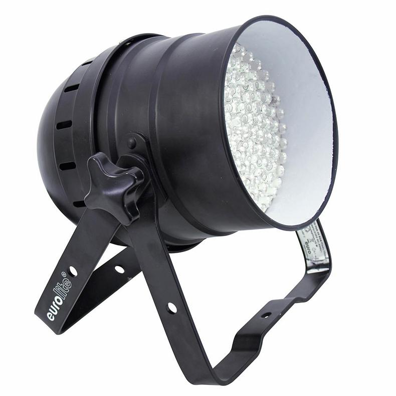 EUROLITE LED PAR-56 RGB floor valoheitin 108x 10mm LEDiä 30°, 16W, musta. DMX-ohjattava LED PAR-56 valoheitin. 5-kanavaa. RGB multivärit. miksattavissa. Automatiikalla voi säätää värien feidaus aikaa. Sisäänrakennettu mikrofoni.<br /> Master / slave toiminne yhdenmukaiseen vaihtoon.