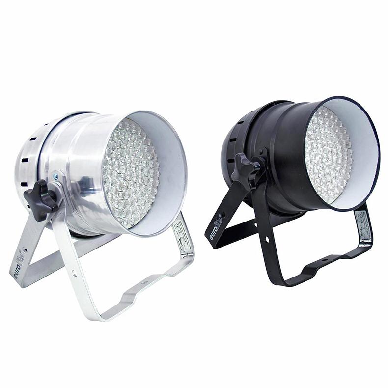 EUROLITE LED valonheitin PAR-56 RGB lattiamalli 108x 10 mm LEDs 30°, 16W, alumiini.DMX-ohjattava LED PAR-56 valonheitin. 5-kanavaa. RGB multivärit. miksattavissa. Automatiikalla voi säätää värien feidaus aikaa. Sisäänrakennettu mikrofoni. Master / slave toiminne yhdenmukaiseen vaihtoon.