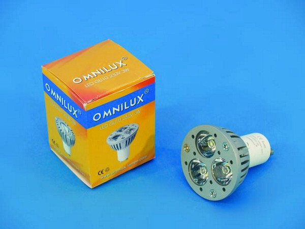 OMNILUX GU-10 LED-lamppu 230V 3x 1W LED , discoland.fi