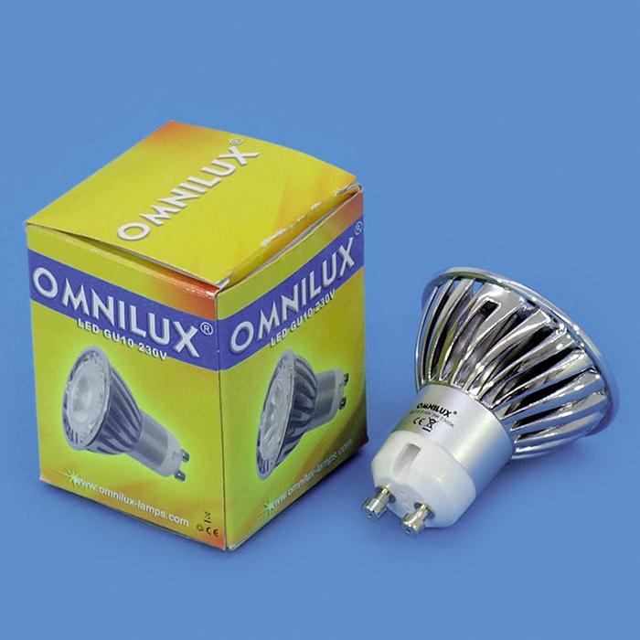 OMNILUX GU-10 LED-lamppu 230V 3W LED blue, sininen, vastaa 35W halogeenia