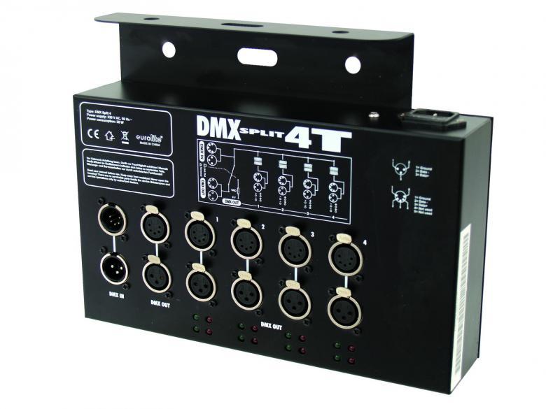 EUROLITE DMX Split 4T DMX-jakaja trussikäyttöön 4- haarainen DMX splitter trussi asennukseen. DMX jakaja joka jakaa yhden DMX sisäänmenon neljäksi ulostuloksi. Mitat 280 x 215 x 64 mm sekä paino 3,0kg.