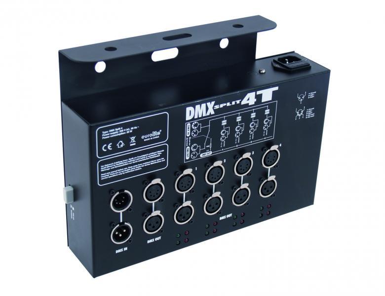 EUROLITE DMX Split 4T DMX-jakaja trussikäyttöön, DMX-jakaja jakaa yhden DMX-sisäänmenon neljäksi ulostuloksi. Mitat 280 x 215 x 64 mm sekä paino 3,0kg.
