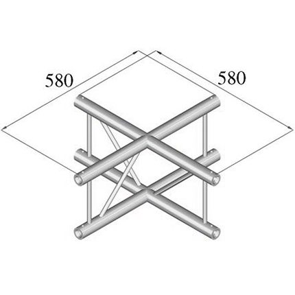 ALUTRUSS DECOLOCK 4-tie risteyspala DQ2-PAC41V. 4-way cross piece