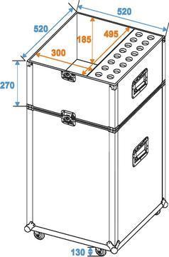ROADINGER Kaksiosainen kuljetuslaatikko 16x mikrofoni telineille ja mikrofoneille. Transport case for microphone stands. Mitat 530 x 530 x 1935 mm sekä paino 50kg.