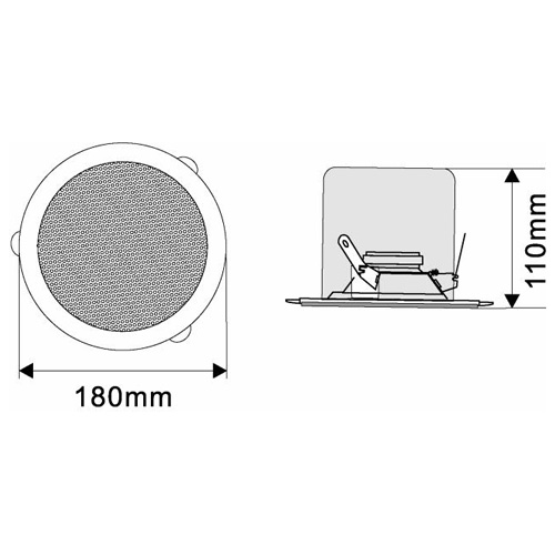 OMNITRONIC CSC-4 kattokaiutin 100V pyöreä,kokoalue kaiutin  Ceiling speaker round +Firedome 3/6W RMS