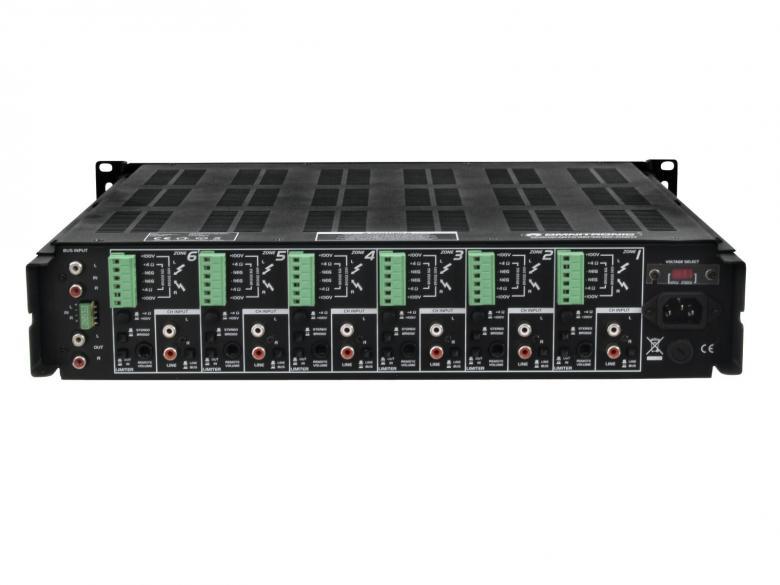 OMNITRONIC MPS-1250 Monialue vahvistin 12-kanavainen. vahvistin 6-stereoaluetta 12x50W 4-ohmia tai 50W/100V kanava. Vahvistin voidaan kytkeä monella eri tapaa, myös siltaan. Mitat 440x483x105mm sekä paino 21,00kg.