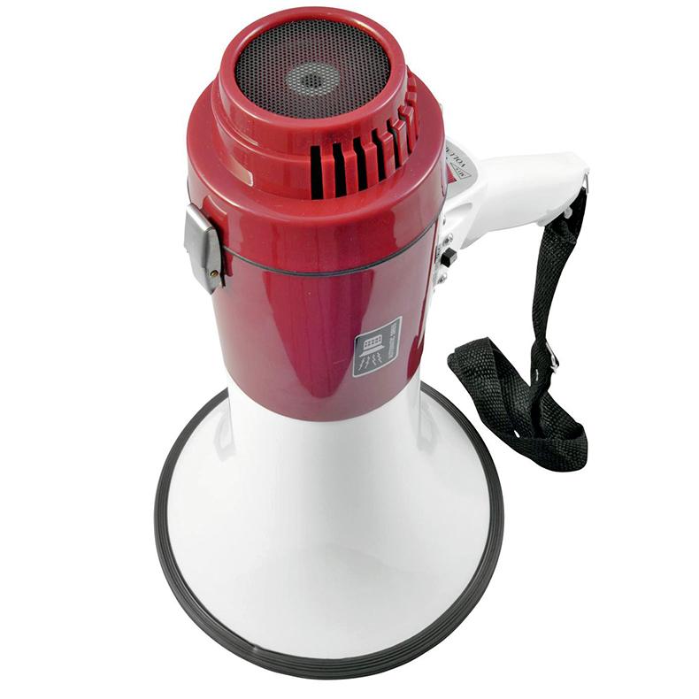 OMNITRONIC MP-18 Megafoni 18W, sisäänrakennettu mikrofoni, voimakkuuden säätö, kuuluu jopa 800 metrin päähän, 8 kpl 1,5 V paristoja tarvitaan käyttöä varten!
