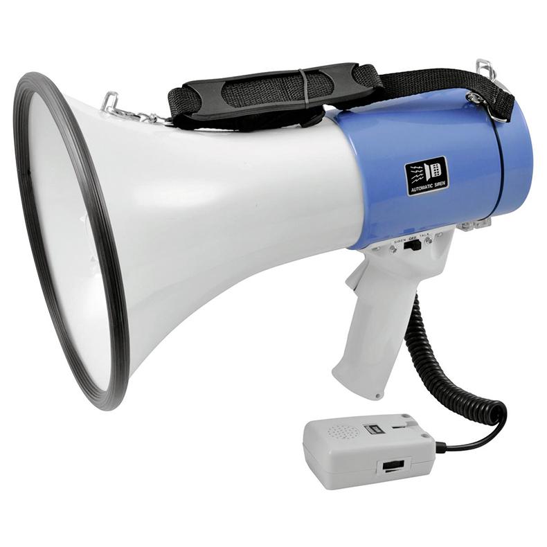OMNITRONIC MP-25 Megafoni 25W äänenvoimakkuuden säädöllä ja vaihtokytkimellä puhe-/sireenitoisto, toimii 8 x 1,5V C-tyypin LR14 sauvaparistolla, toimitus ei sisällä paristoja, kuuluvuus hyvissä olosuhteissa jopa 800m