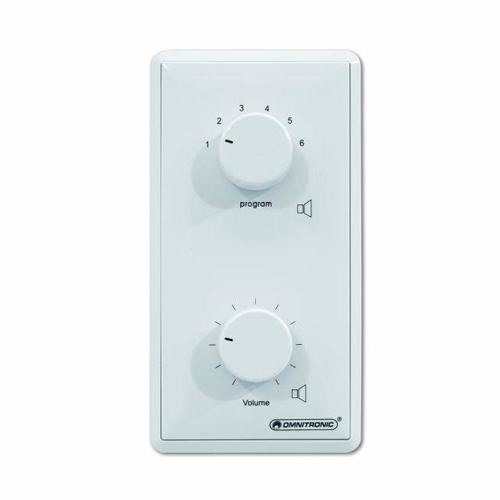OMNITRONIC PA Program Selector + Volume Control 10W mono white with 24 V Emergency Priority Relay