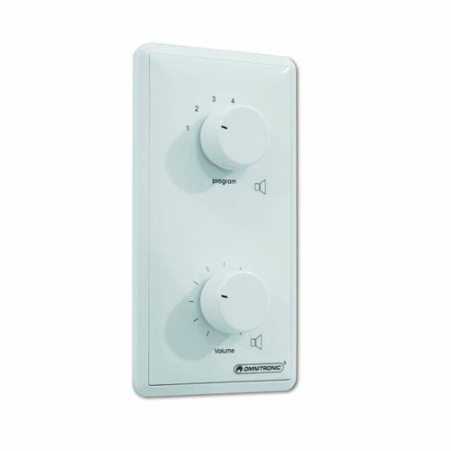 OMNITRONIC PA Program Selector + Volume Control 20W mono white with 24 V Emergency Priority Relay