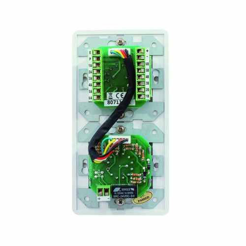 OMNITRONIC PA Program Selector + Volume Control 45W mono white with 24 V Emergency Priority Relay