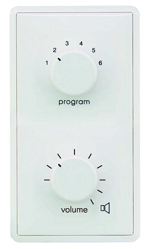 OMNITRONIC ELA Program Selector + Volume Control 120W mono white with 24 V Emergency Priority Relay