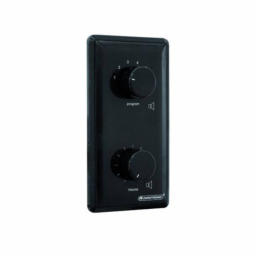 OMNITRONIC PA Program Selector + Volume Control 20W mono black with 24 V Emergency Priority Relay