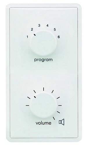 OMNITRONIC ELA Program Selector + Volume Control 20W stereo white with 24 V Emergency Priority Relay