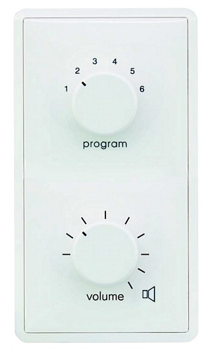 OMNITRONIC ELA Program Selector + Volume Control 45W stereo white with 24 V Emergency Priority Relay