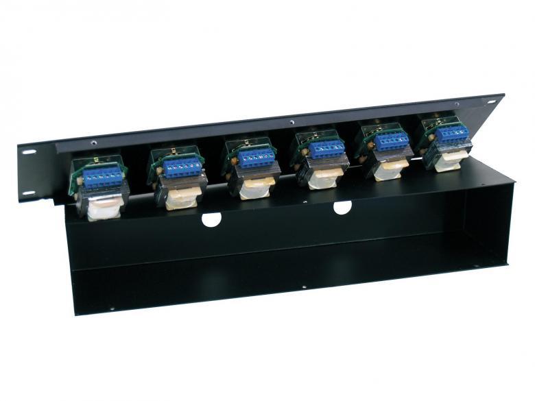 OMNITRONIC PA äänenvoimakkuus säädin 6-aluetta 6x 10W musta räkkikokoinen. 6-Zone Volume Control 6x 10W with 24V Emergency Priority Relay, black