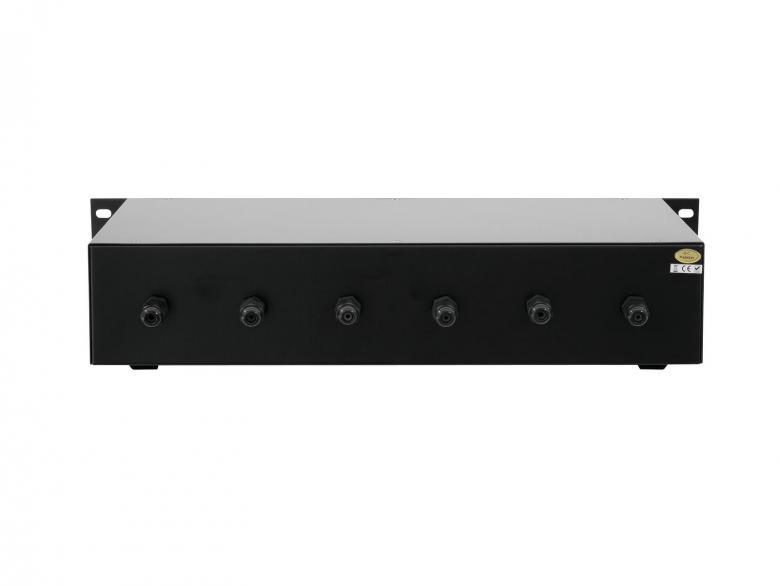 OMNITRONIC PA äänenvoimakkuus säädin 6-aluetta 6x20W, musta räkkikokoinen. 6-Zone Volume Control 6x 20W with 24V Emergency Priority Relay, black