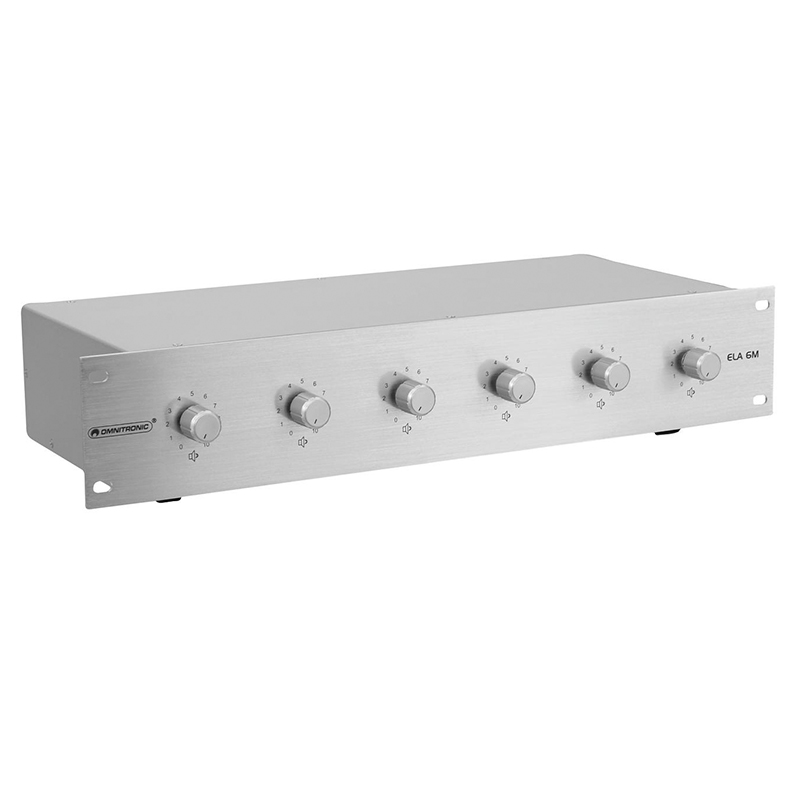 OMNITRONIC ELA 6M, 6-Zone Volume Control 6x 5W with 24V Emergency Priority Relay, silver
