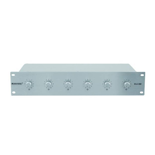 OMNITRONIC ELA 6M, 6-Zone Volume Control 6x 45W with 24V Emergency Priority Relay, silver