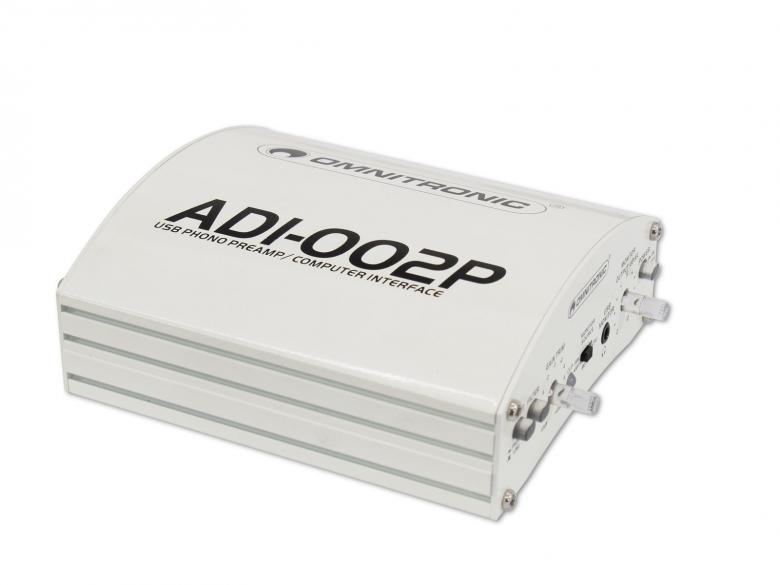 OMNITRONIC ADI-002P ulkoinen äänikortti volume säädin. On varustettu myös riia korjaimella, eli saat levysoittimen kiinni tällä tuotteella tietokoneeseen. USB Phono-PreAmp/Computer Interface for digital recording from line and phono sources.