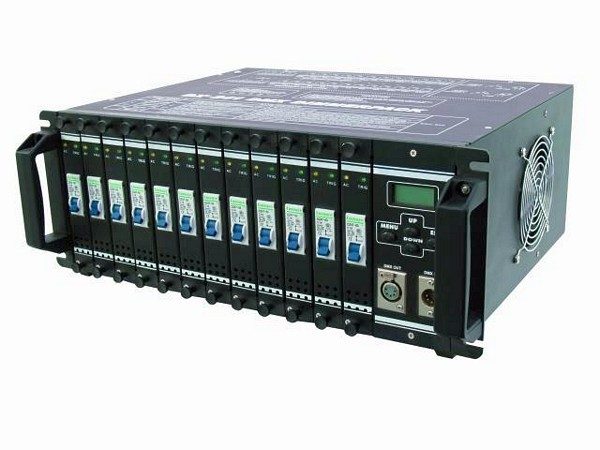 EUROLITE DPMX-1216 S DMX 12-channel pack, can be dimmed/switched 12x 3680W, Max. output 44160W, Safety sockets