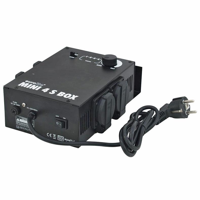 EUROLITE Loppu!!MINI-4B Valo-ohjain, ääniohjaus sisäänrakennetun mikrofonin kautta. Box Version 4-channel x 1150W, safety sockets