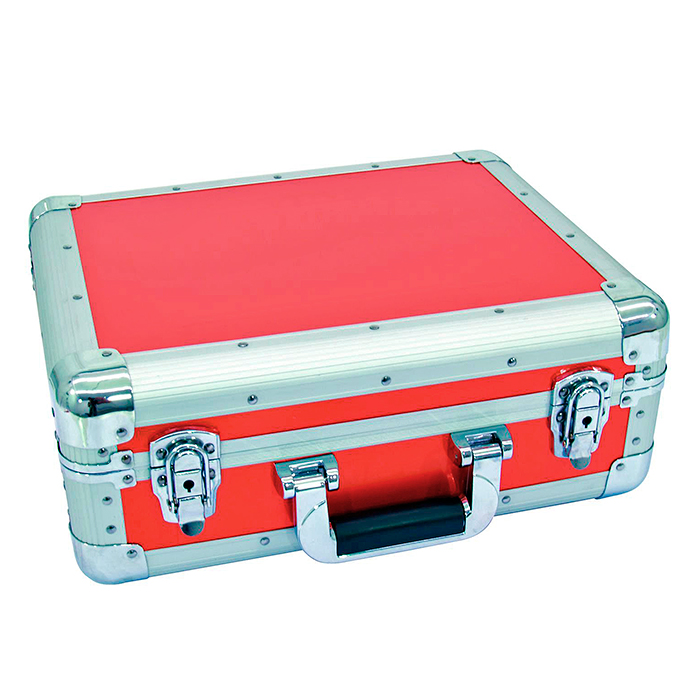 OMNITRONIC CD case ALU digital booking rounded red, CD-levy case 90 CD-levylle tai DJM-500-600-800 mikserille!