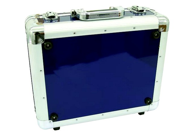 OMNITRONIC CD case ALU digital booking rounded blue, CD-levy case 90 CD-levylle tai DJM-500-600-800 mikserille!