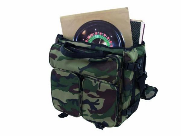 OMNITRONIC Record bag RP-50 camouflage woodlands green, approx. 50 LPs