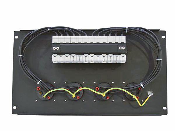 EUROLITE PDM 6U-4CEE Voimavirtahaaroitusrasia- ja vikavirtasuojakytkinmoduuli räkkikiinnityksellä (483mm x 264mm 19