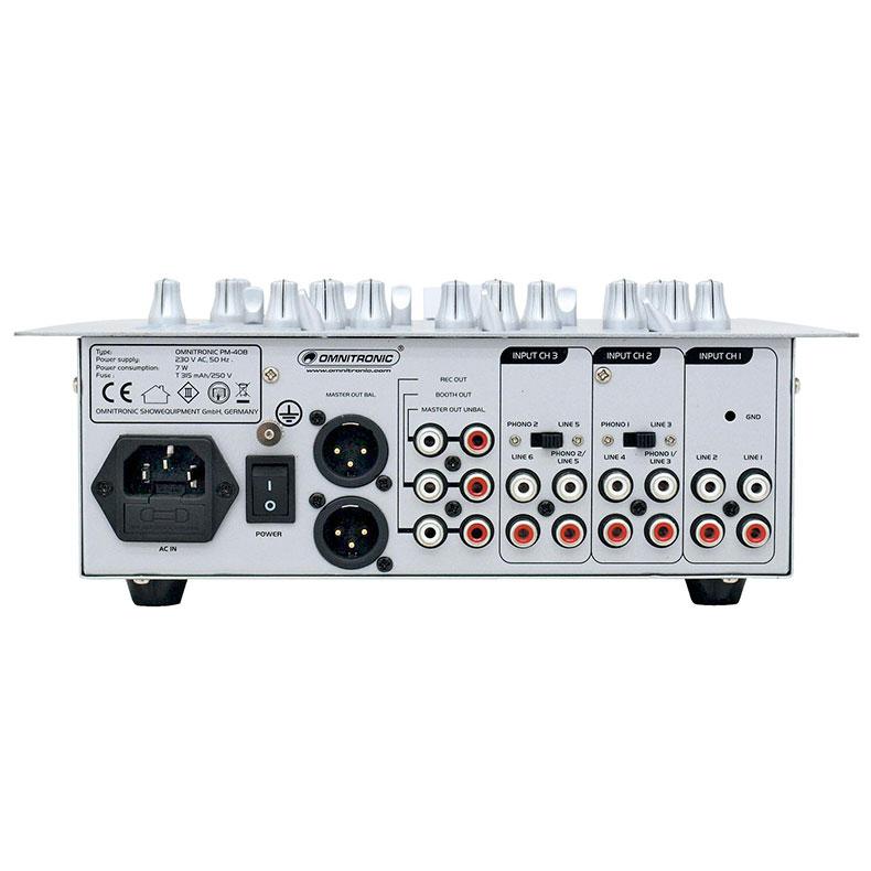 OMNITRONIC PM-408 Ammattitason DJ-mikseri 3-kanavainen.  Kolme sisäänmeno kanavaa ( 6x stereo sekä 1 kpl mic)  Kanavakohtaiset Eq- Kill sekä gain toiminteet  Talkover Mikrofonia varten taustan vaimennus toiminne  Kuuloke esikuuntelu Cue säädettävissä  Erikseen tilattavissa Crossfader heavy usereille Korkealaatuiset Faderit+ Super smooth Balansoidut XLR ulostulot+ booth ja rec Alumiininen etupaneeli sekä tukeva konstruktio Mitat 262 x 255 x 110 mm. - Paino 2,8 kg