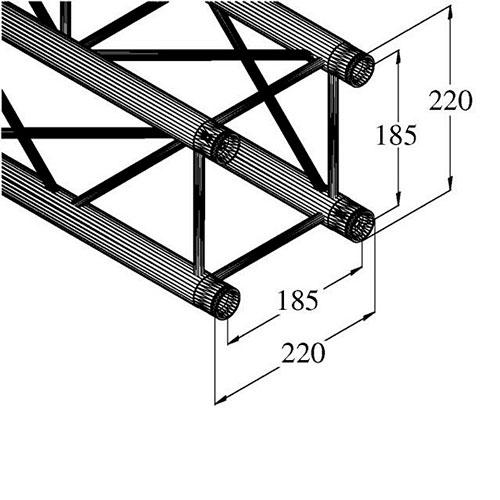 ALUTRUSS DECOLOCK trussi DQ4-500 500mm pitkä suora ristikko trussi 4-piste. Mitat kehikolle 220 x 220 x 220, putken paksuus 35mm sekä paino 1,6kg.