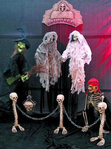 EUROPALMS Halloween Skeleton Barrier, height 60cm, chain length 170cm, Halloween luurankoaita ketjulla