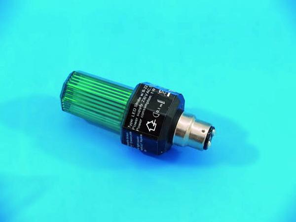 EUROLITE LED Strobe B-22 kannalla, väri vihreä. Strobo lamppu automaatti välkkymisellä. Ei voi säätää. Kestoikä 2000000 välähdystä. Mitat 117 x 51 mm sekä paino 0,1kg.