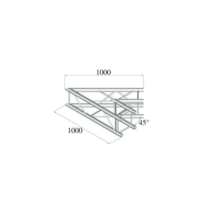 ALUTRUSS  QUADLOCK 2-kulmapala 45° 6082C-19. 2-way corner piece