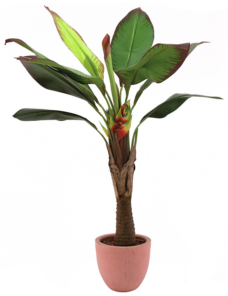 EUROPALMS 140cm Kolibrikukka/ Paratiisikukka. Bird of Paradise Strelitzia Perennial 10 leaves, in cemented pot. Lifelike imitation, perfectly for outdoor use