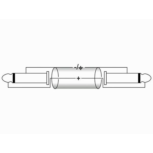 OMNITRONIC Plugi-kaapeli 1,5m, Jack Plug 6,3mm mono - Jack Plug 6,3mm mono, väri musta ROAD. KR-15
