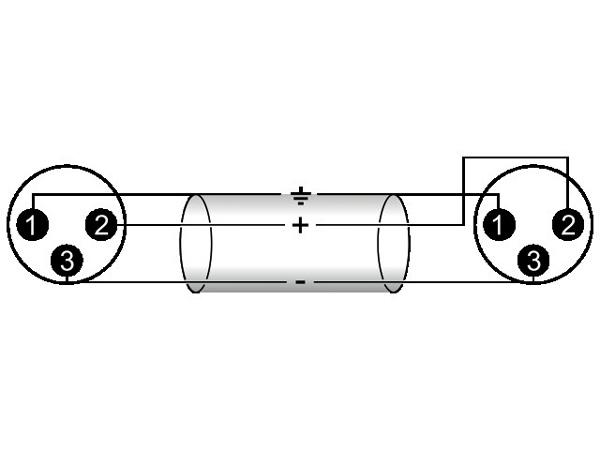 OMNITRONIC XLR-XLR-adapterikaapeli 02,m, XLR-uros - XLR-uros, väri musta. AAC-20