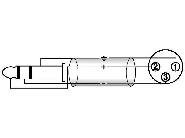OMNITRONIC XLR-Plugi-adapterikaapeli 0,2m, XLR-naaras - Jack Plug 6,3mm stereo, väri musta. AXK-20