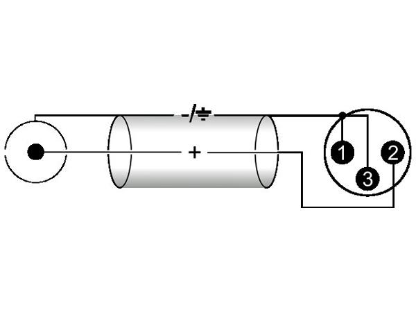 OMNITRONIC XLR-RCA-adapterikaapeli 0,2m, XLR-uros - RCA, väri musta. AAC-02