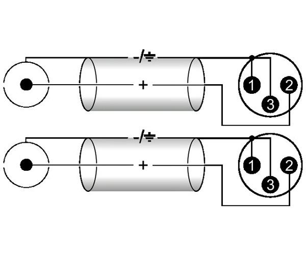 OMNITRONIC LOPPU!XC2-100 Cable, XLR-RCA-kaapeli 2x XLR-male to 2x RCA, 10m