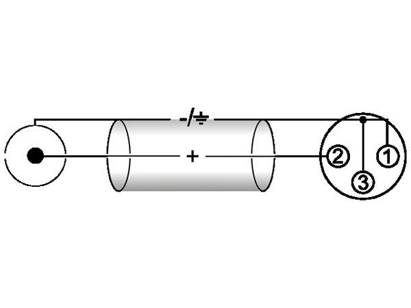 OMNITRONIC RCA-XLR-adapterikaapeli 0,6m, RCA - XLR-naaras, väri musta. AAC-06