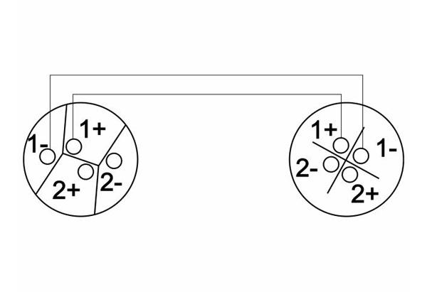 OMNITRONIC SPWI-1515 Kaiutinkaapeli 1,5m, 2x1,5mm². Speakon-liittimillä suoranaaras - kulmanaaras