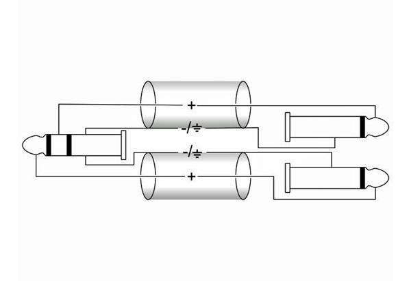 OMNITRONIC Snake Cable 4x Jack Plug 6,3mm stereo to 8x Jack Plug 6,3mm mono, 3m