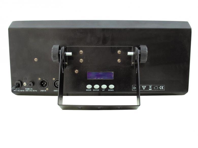 EUROLITE PIX-24 RGB 24x 3W Floodlight LEDiä, jota voidaan käyttää yksikseen tai DMX-ohjauksella. DMX-ohjaus mahdollista kaikilla DMX ohjaimilla. Voidaan käyttää useissa eri tiloissa, jolloin varaa eri määrän DMX kanavia (6, 9, 15, 24, 27). Musiikkiohjaus sisäänrakennetulla mikillä. 14 sisäänrakennettua ohjelmaa, staattiset värit, automaattinen värin vaihto, strobo-efekti, Master/Slave. Aukeamiskulma 30° ja mitat 445 x 150 x 195 mm sekä paino 5,0kg.
