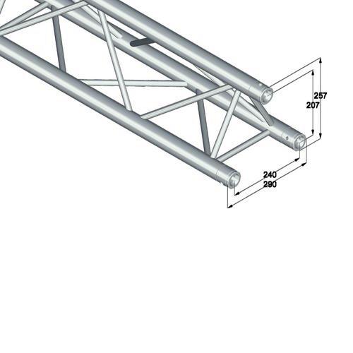 ALUTRUSS TRILOCK trussi 6082-2500 pikalukittava 3-pistetrussi pituus 2500mm, ulkomitat 290 x 290 x 290 mm sekä paino 9,2kg.