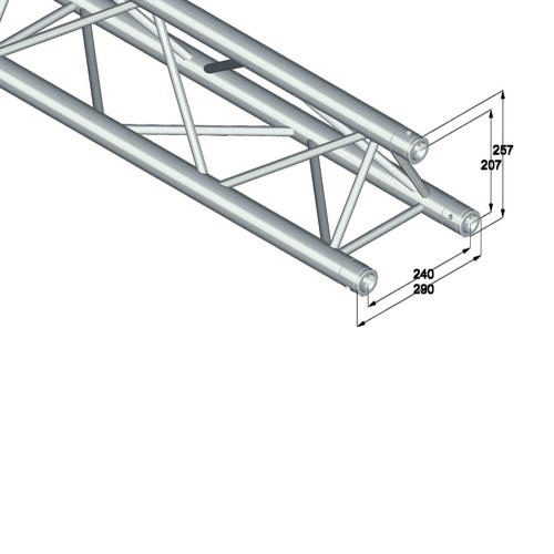 ALUTRUSS TRILOCK trussi 6082-3000 kolmiputkinen pikalukittava trussi pituus 3000mm, ulkomitat 290 x 290 x 290 mm sekä paino 10,7kg.