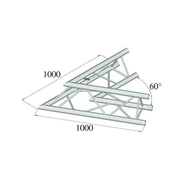 ALUTRUSS TRILOCK 2-tie kulmapala 60° 6082AC-20 kolmiputkinen pikalukittava trussi ulkomitat 290 x 290 x 290 mm sekä paino 5,8kg.