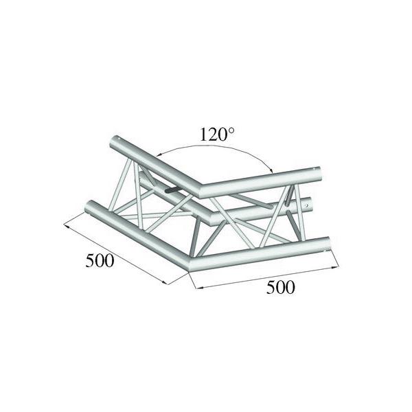 ALUTRUSS TRILOCK 2-tie kulmapala 120° 6082AC-22 kolmiputkinen pikalukittava trussi, ulkomitat 290 x 290 x 290 mm sekä paino 4,3kg.